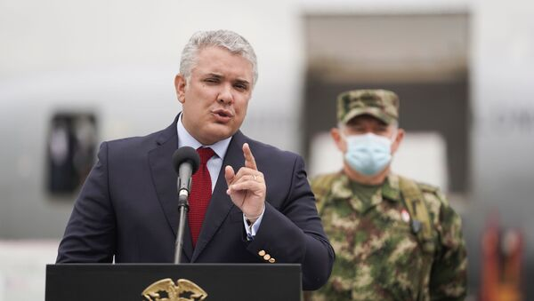 Colombia's President Ivan Duque speaks after the arrival of a shipment of Johnson & Johnson vaccines against the coronavirus disease (COVID-19), in Bogota, Colombia July 1, 2021. - Sputnik International