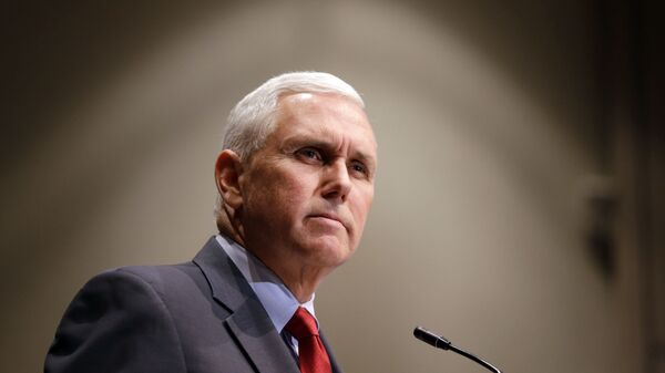 Indiana Gov. Mike Pence announces that the Centers for Medicaid and Medicare Services had approved the state's waiver request for the plan his administration calls HIP 2.0 during a speech in Indianapolis, Tuesday, Jan. 27, 2015 - Sputnik International