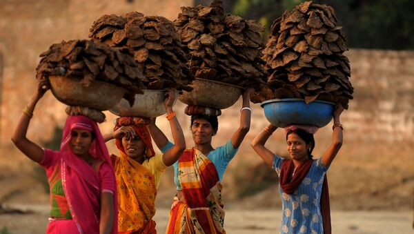 Indian village women carry dried cow dung cakes in the Teliarganj area on the outskirts of Allahabad on December 21, 2009 - Sputnik International