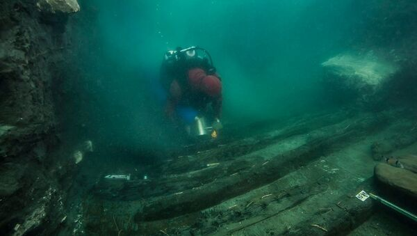 A diver examines the remains of an ancient military vessel discovered in the Mediterranean sunken city of Thonis-Heracleion off the coast of Alexandria, Egypt, in this handout image released on July 19, 2021. - Sputnik International