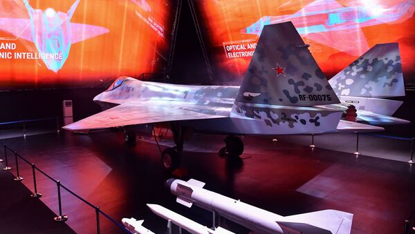 A prototype of Russia's new Sukhoi Checkmate Fighter is displayed at the MAKS 2021 International Aviation and Space Salon, in Zhukovsky, outside Moscow, Russia. The missiles on display include the R-73 and R-77 anti-air missiles and the Kh-59MK anti-ship missile.  - Sputnik International