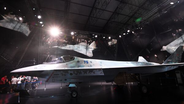 The prototype of the new fifth-generation light tactical single-engine Checkmate fighter during a presentation at the MAKS-2021 air show The aircraft is being developed by Sukhoi, part of the United Aircraft Corporation of the Rostec State Corporation. - Sputnik International