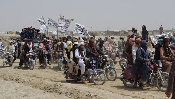 Supporters of the Taliban carry the Taliban's signature white flags in the Afghan-Pakistan border town of Chaman, Pakistan, Wednesday, July 14, 2021 - Sputnik International