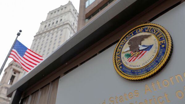 The seal of the United States Department of Justice is seen on the outside of the United States Attorney's Office of the Southern District of New York in Manhattan, New York City, US, on 17 August 2020. - Sputnik International