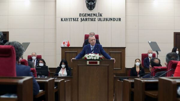 Turkish President Tayyip Erdogan addresses the members of the parliament of Turkish Republic of Northern Cyprus, a breakway state recognized only by Turkey, in northern Nicosia, Cyprus July 19, 2021. - Sputnik International