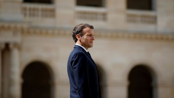 French President Emmanuel Macron attends a prise d'armes military ceremony at the Invalides in Paris, France, July 8, 2021. REUTERS/Sarah Meyssonnier/Pool - Sputnik International