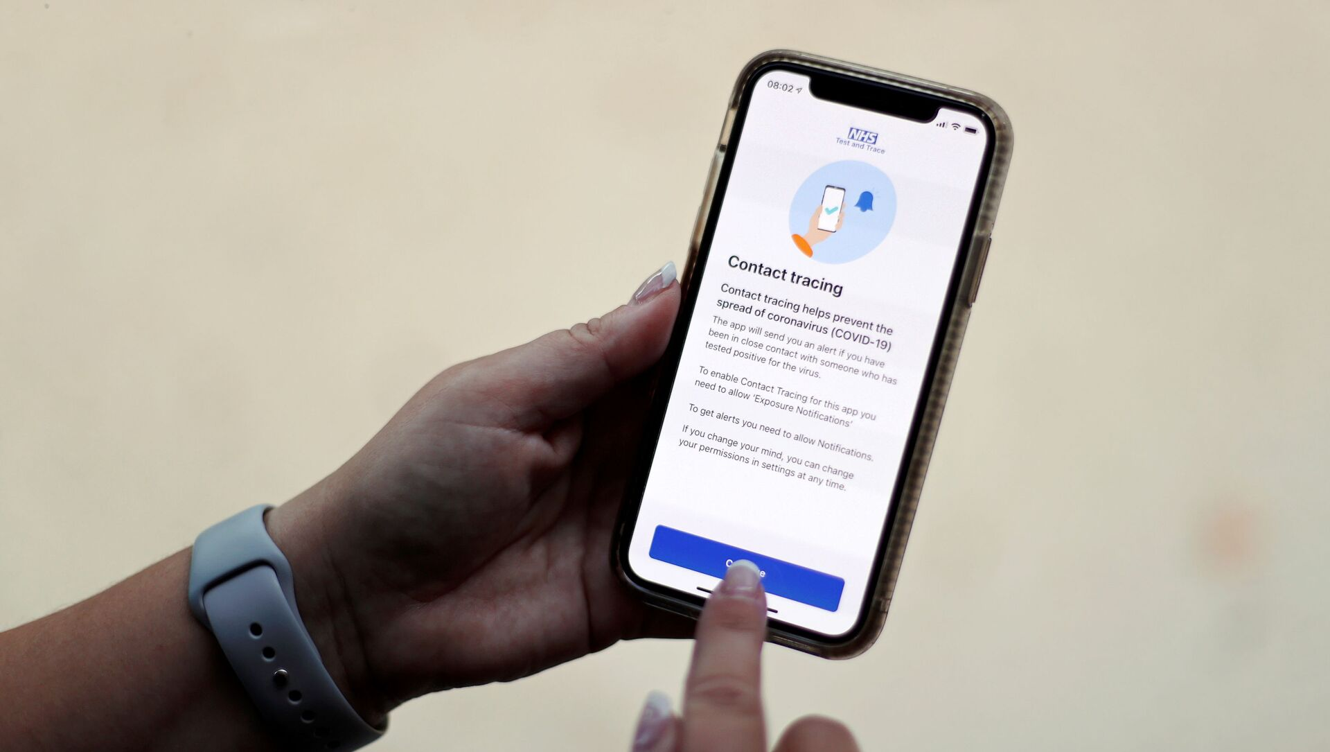 FILE PHOTO: The coronavirus disease (COVID-19) contact tracing smartphone app of Britain's National Health Service (NHS) is displayed on an iPhone in this illustration photograph taken in Keele, Britain, September 24, 2020.  - Sputnik International, 1920, 23.07.2021