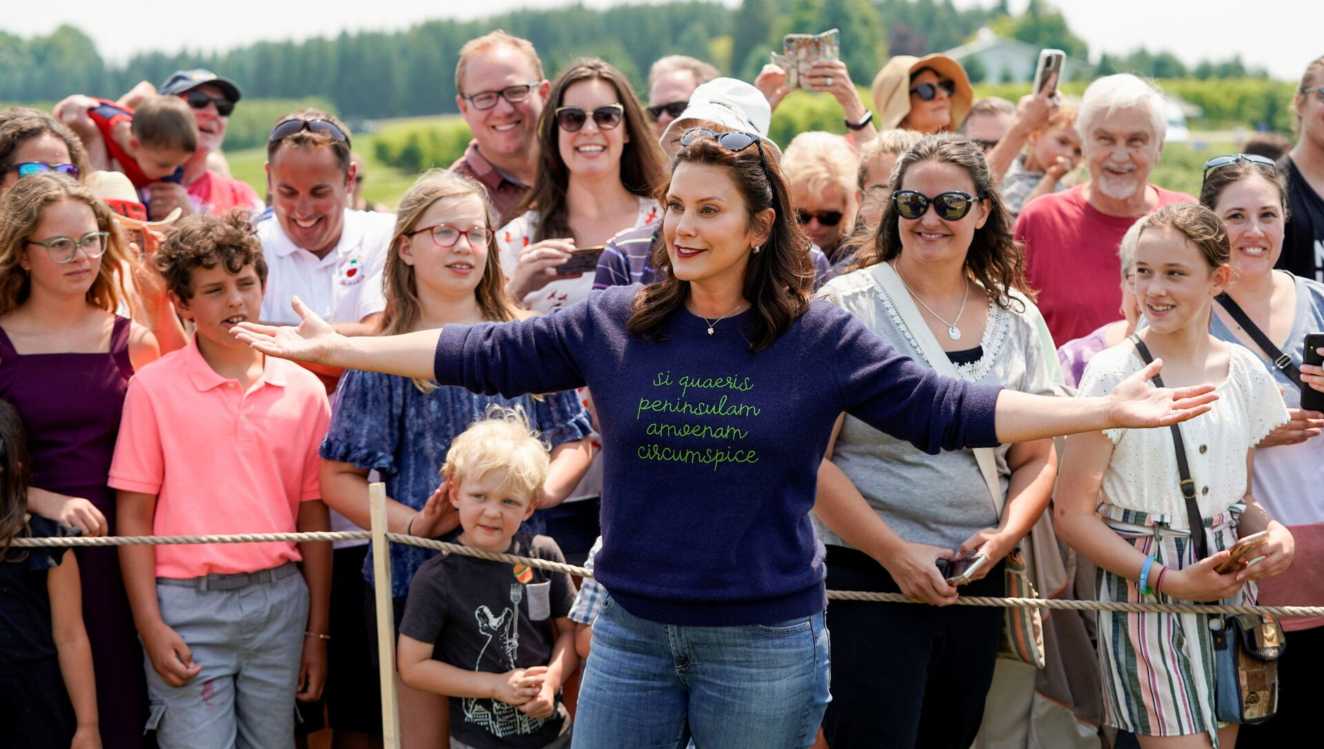 Michigan's Governor Gretchen Whitmer gestures in front of supporters after touring King Orchards farm in Central Lake, Michigan, 3 July 2021. - Sputnik International, 1920, 24.07.2021