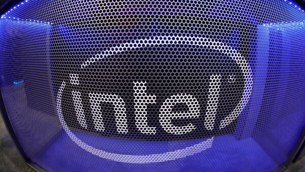 Computer chip maker Intel's logo is shown on a gaming computer display during the opening day of E3, the annual video games expo revealing the latest in gaming software and hardware in Los Angeles, California, U.S., June 11, 2019.   - Sputnik International