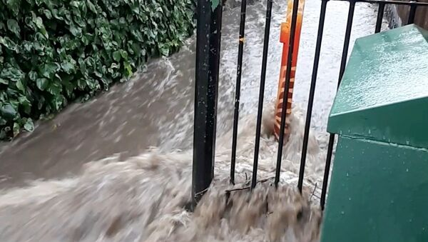 Floodwater flows out of Queen's Wood into Wood Vale, London, Britain in this still frame obtained from social media video dated July 12, 2021.  - Sputnik International
