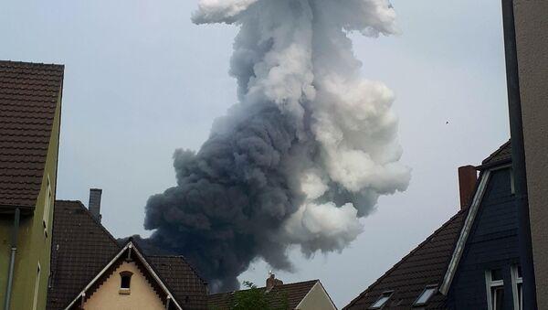 Smoke billows following an explosion in Wiesdorf, Leverkusen, Germany July 27, 2021, in this photo obtained from social media.  - Sputnik International