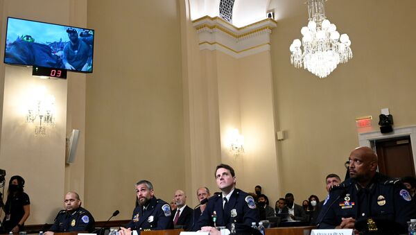 U.S. Capitol Police officer Sgt. Aquilino Gonell, DC Metropolitan Police Department officer Michael Fanone, DC Metropolitan Police Department officer Daniel Hodges and US Capitol Police officer Harry Dunn  watch a video of the Jan. 6 Attack during a hearing of the House select committee investigating the Jan. 6 attack, on the Capitol Hill, in Washington, U.S., July 27, 2021.  - Sputnik International