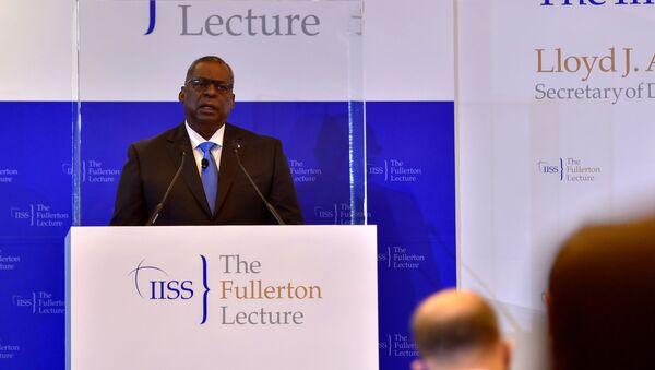 U.S. Defense Secretary Lloyd Austin speaks at the IISS Fullerton Lecture in Singapore July 27, 2021. - Sputnik International