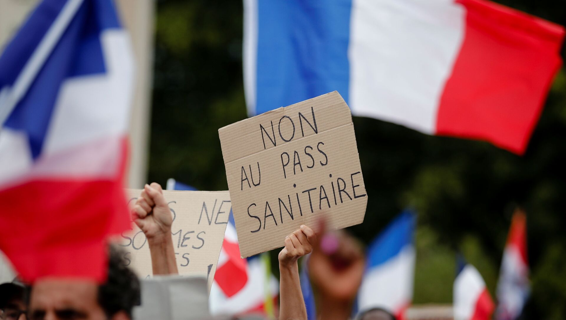 A protester holds a placard that reads No to the health passport during a demonstration called by the French nationalist party Les Patriotes (The Patriots) against France's restrictions to fight the coronavirus disease (COVID-19) outbreak, on the Droits de l'Homme (human rights) esplanade at the Trocadero Square in Paris, France, July 24, 2021. REUTERS/Benoit Tessier - Sputnik International, 1920, 31.07.2021