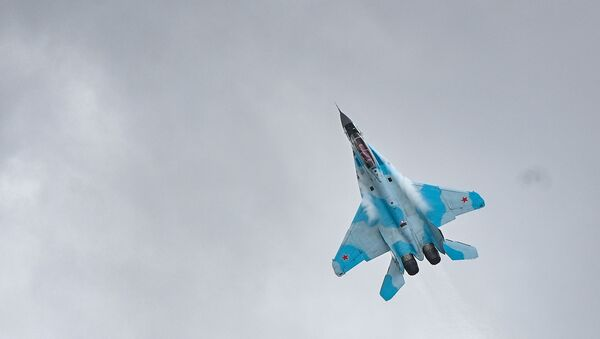 Upgraded Russian fourth-generation jet Su-35 NATO reporting names: Flanker-E) during MAKS-2021 air show - Sputnik International