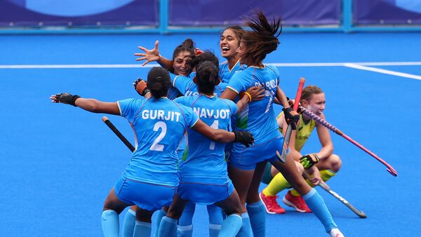 Tokyo 2020 Olympics - Hockey - Women - Quarterfinal - Australia v India - Oi Hockey Stadium, Tokyo, Japan - 2 August 2021. Players of India celebrate after winning their match.  - Sputnik International