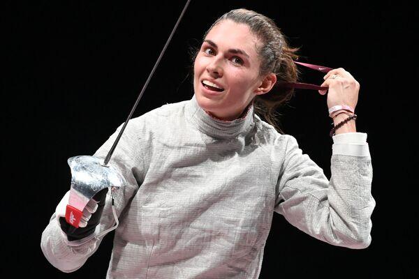 Sofia Pozdnyakova of Russia after battling Sofya Velikaya at the women's sabre fencing finals.  - Sputnik International