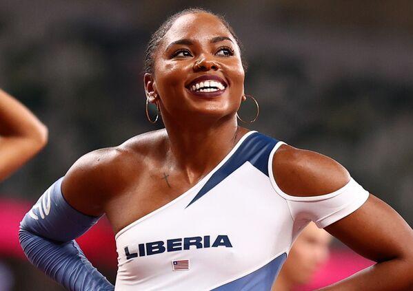 Ebony Morrison of Liberia after women's 100m hurdles.  - Sputnik International