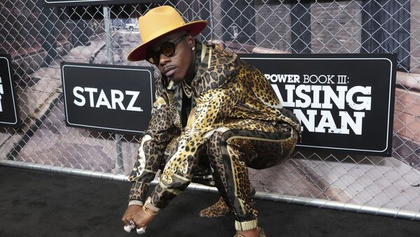 FILE - DaBaby attends the world premiere of Power Book III: Raising Kanan at the Hammerstein Ballroom on Thursday, July 15, 2021, in New York. DaBaby was cut Sunday, Aug. 1, 2021 from Lollapalooza's closing lineup following crude and homophobic remarks he made last week at a Miami-area music festival. - Sputnik International