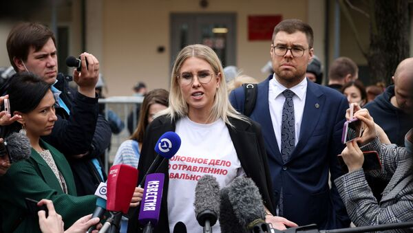 Opposition figure Lyubov Sobol talks to the media after being handed a one year community service suspended sentence over charges for trespassing and violence  - Sputnik International