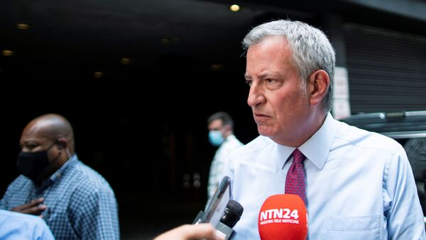 New York City Mayor Bill de Blasio gives his remarks to the media regarding a probe that found New York Governor Andrew Cuomo sexually harassed multiple women, in New York City, New York, U.S., August 3, 2021. - Sputnik International