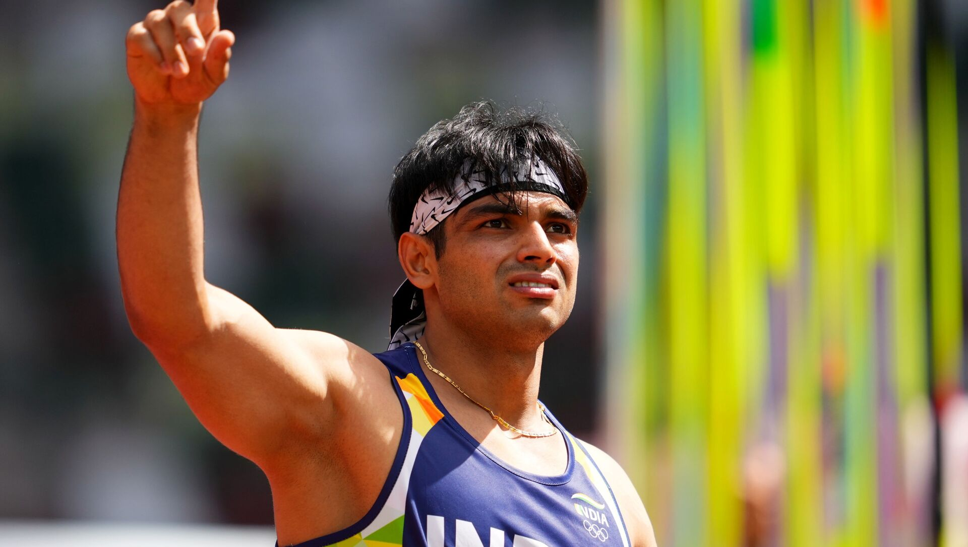 Tokyo 2020 Olympics - Athletics - Men's Javelin Throw - Qualification - Olympic Stadium, Tokyo, Japan - August 4, 2021. Neeraj Chopra of India reacts  - Sputnik International, 1920, 04.08.2021