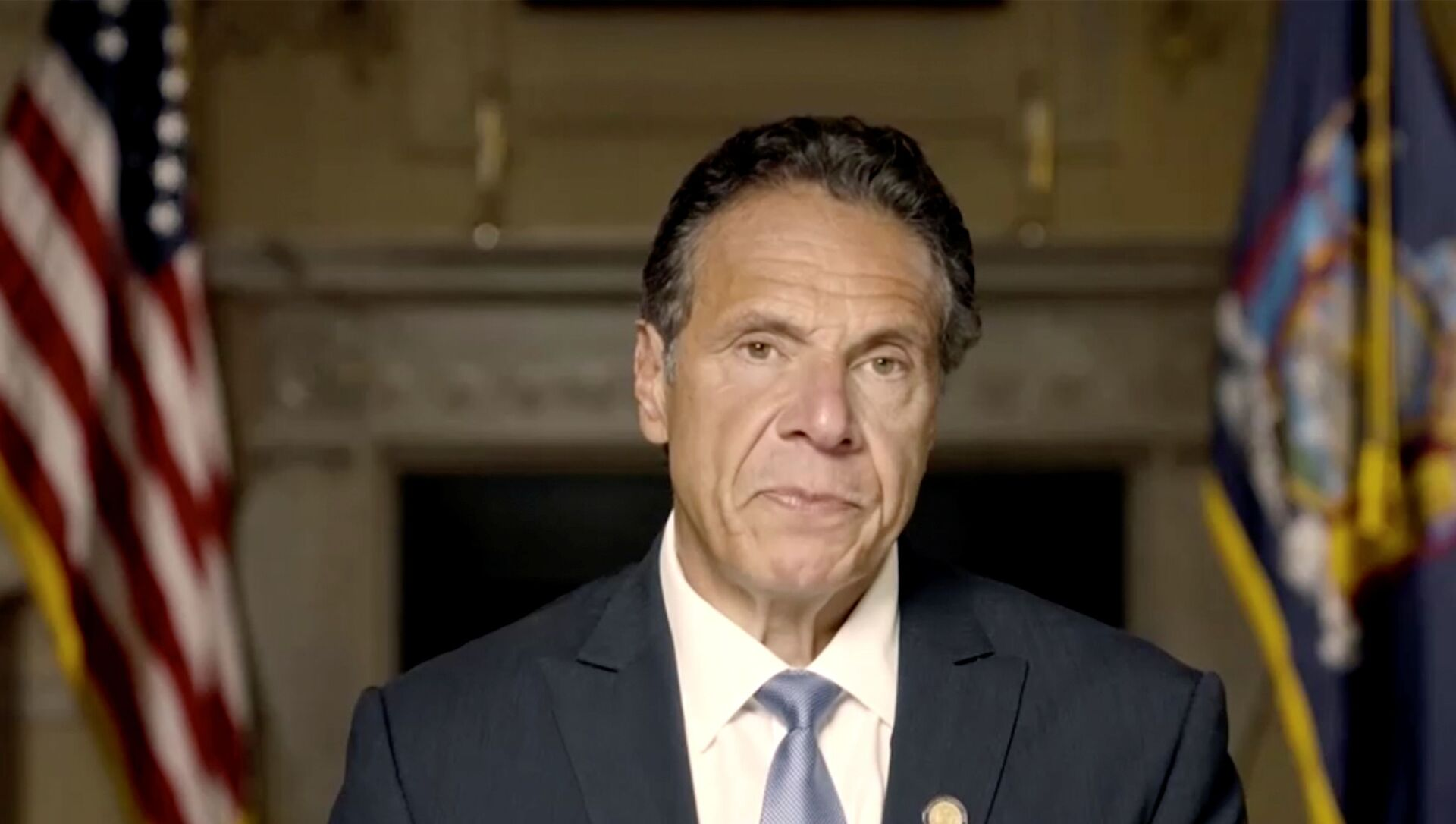 New York Governor Andrew Cuomo makes a statement in this screen grab taken from a pre-recorded video released by Office of the NY Governor, in New York, U.S., August 3, 2021. - Sputnik International, 1920, 04.08.2021