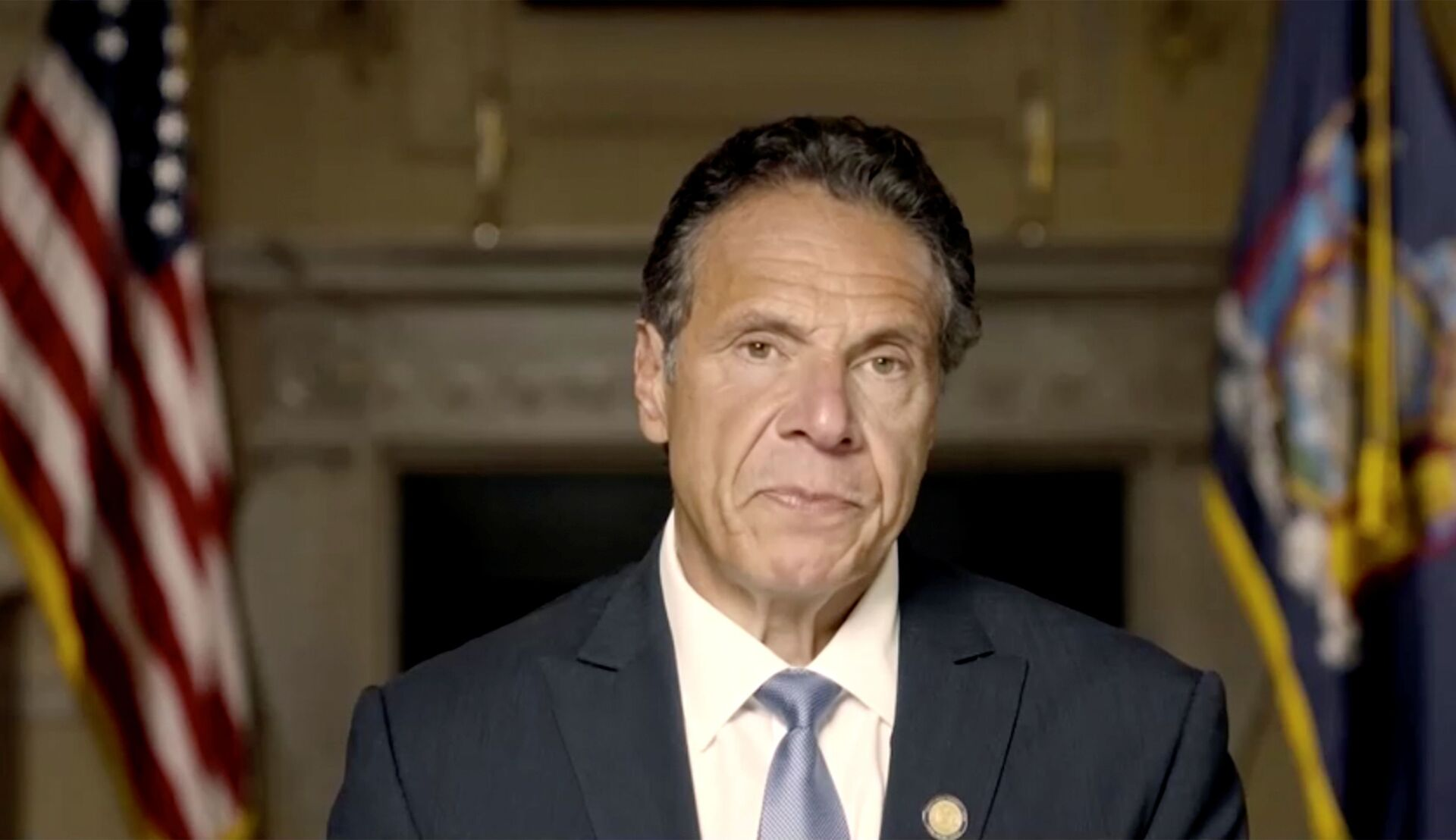 New York Governor Andrew Cuomo makes a statement in this screen grab taken from a pre-recorded video released by Office of the NY Governor, in New York, U.S., August 3, 2021. - Sputnik International, 1920, 07.09.2021