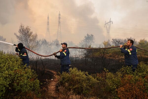 Volunteer firefighters try to extinguish a wildfire in Varympompi, a suburb north of Athens, Greece, 3 August 2021.  - Sputnik International