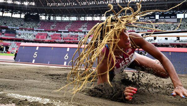 Tara Davis of the United States in action.  Athletics - Women's Long Jump - Final  - Sputnik International