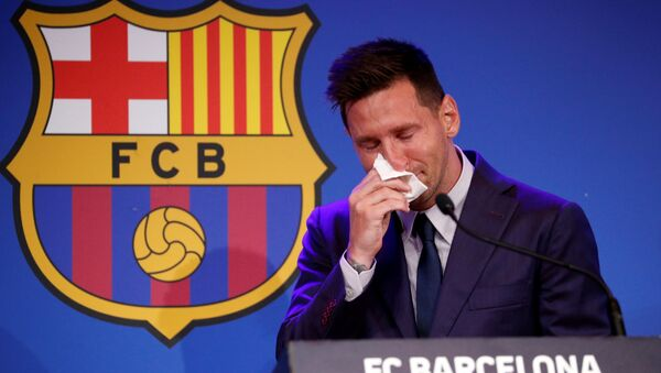 Soccer Football - Lionel Messi holds an FC Barcelona press conference - 1899 Auditorium, Camp Nou, Barcelona, Spain - August 8, 2021 Lionel Messi during the press conference REUTERS/Albert Gea     TPX IMAGES OF THE DAY - Sputnik International