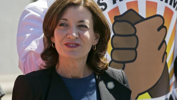 New York's Lt. Gov. Kathy Hochul attends a May Day pro-labor and immigration rights rally, May 1, 2018, in New York - Sputnik International