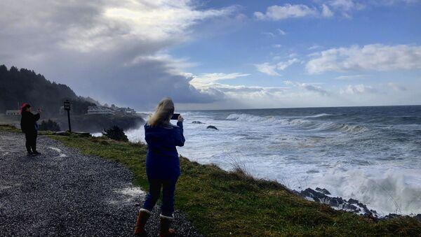 Waves crashing ashore at Rodea Point in Lincoln County, Oregon. - Sputnik International