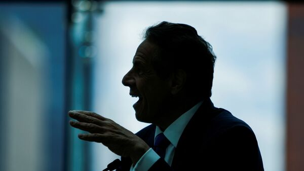 New York Governor Andrew Cuomo speaks while making an announcement at the Jacob K. Javits Convention Center in Manhattan in New York City, New York, U.S., May 11, 2021 - Sputnik International