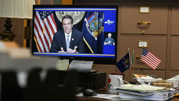 Governor Andrew Cuomo's resignation is seen on a computer screen in Assemblywoman Patricia Fahy's office at the Legislative Office Building in Albany, New York, U.S., August 10, 2021 - Sputnik International