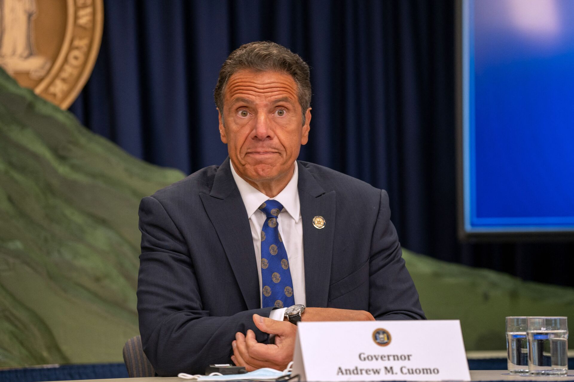 New York Governor Andrew Cuomo speaks during a COVID-19 briefing on July 6, 2020 in New York City. On the 128th day since the first confirmed case in New York and on the first day of phase 3 of the reopening, Gov. Cuomo asked New Yorkers to continue to be smart while citing the rise of infections in other states. - Sputnik International, 1920, 07.09.2021
