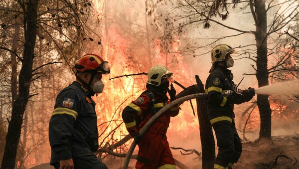Two firefighters from Greece and one firefighter from Slovakia try to extinguish a wildfire burning in the village of Avgaria, on the island of Evia, Greece, August 10, 2021 - Sputnik International