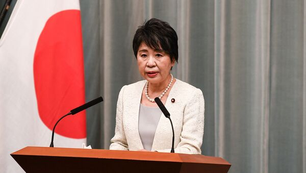 Newly appointed Japan's justice minister Yoko Kamikawa delivers a speech during a press conference at the Prime Minister's office in Tokyo on September 16, 2020. - Sputnik International