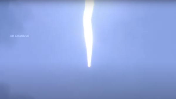 Screenshot from a video by India's Space Agency ISRO showing the launch of the EOS-03 atop the GSLV-F10 - Sputnik International
