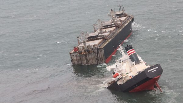A view of the Panamanian-registered ship 'Crimson Polaris' after it ran aground in Hachinohe harbour in Hachinohe, northern Japan, August 12, 2021, in this handout photo taken and released by 2nd Regional Coast Guard Headquarters. - Sputnik International