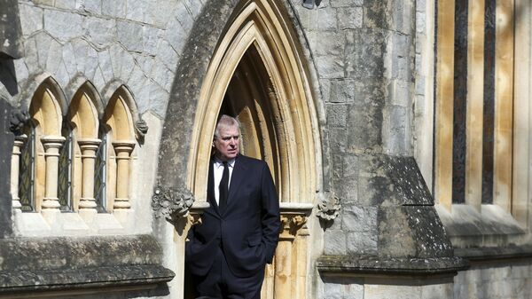 Britain's Prince Andrew attends the Sunday service at the Royal Chapel of All Saints at Royal Lodge, Windsor, following the death announcement of his father, Prince Philip, in England, Sunday, April 11, 2021. - Sputnik International