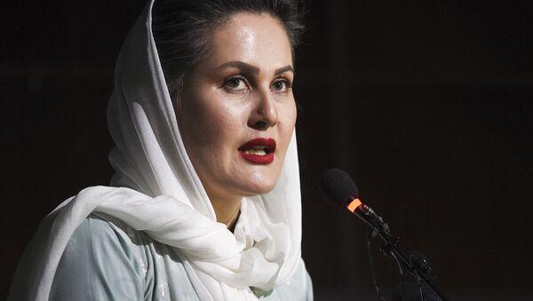 In this photo taken on August 3, 2019, movie director Sahraa Karimi speaks during the Afghan Film Festival opening at Kabul University in Kabul - Sputnik International