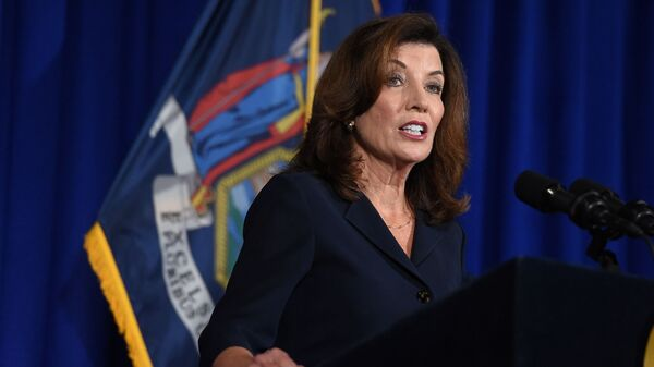 New York Lieutenant Governor Kathy Hochul speaks during a news conference the day after Governor Andrew Cuomo announced his resignation at the New York State Capitol, in Albany, New York, U.S., August 11, 2021 - Sputnik International