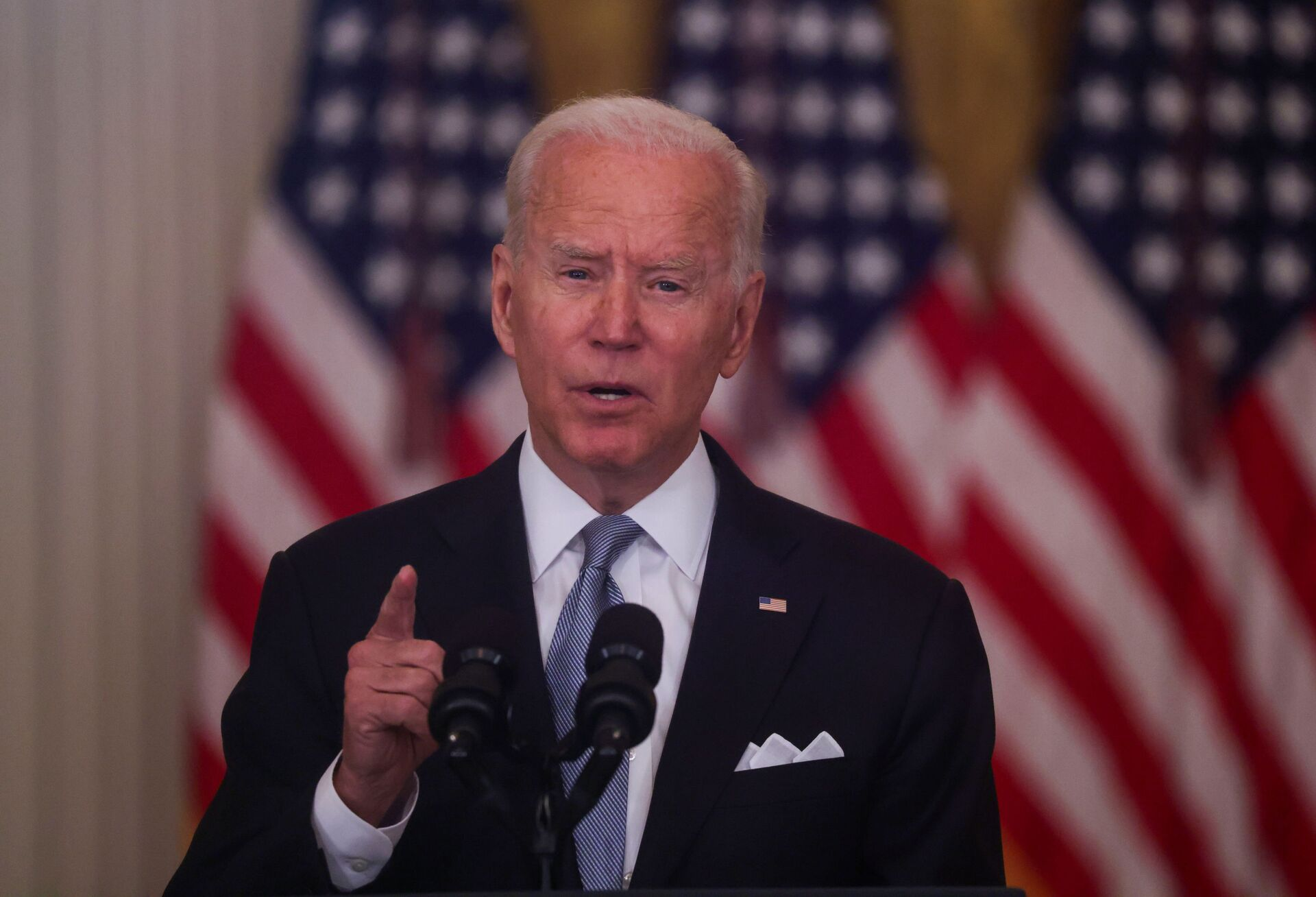 U.S. President Joe Biden delivers remarks on the crisis in Afghanistan during a speech in the East Room at the White House in Washington, U.S., August 16, 2021. - Sputnik International, 1920, 07.09.2021