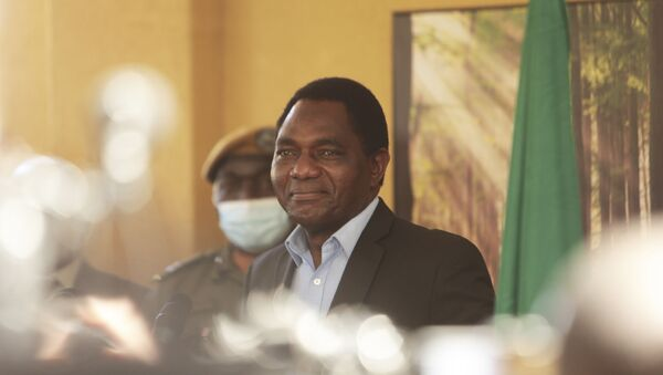 Zambian president elect Hakainde Hichilema addresses a press conference at his residence in Lusaka, Zambia, Monday Aug, 16, 2021.  Hichilema has won the southern African country's presidency after defeating President Edgar Lungu with more than 50% of the vote. - Sputnik International