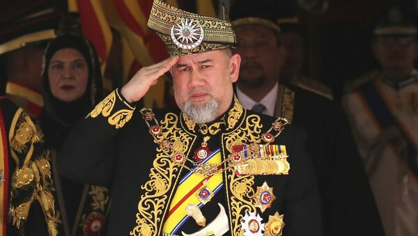 FILE - In this July 17, 2018, file photo, Malaysian then King Sultan Muhammad V salutes during the national anthem at the opening of the 14th parliament session at the Parliament house in Kuala Lumpur, Malaysia - Sputnik International