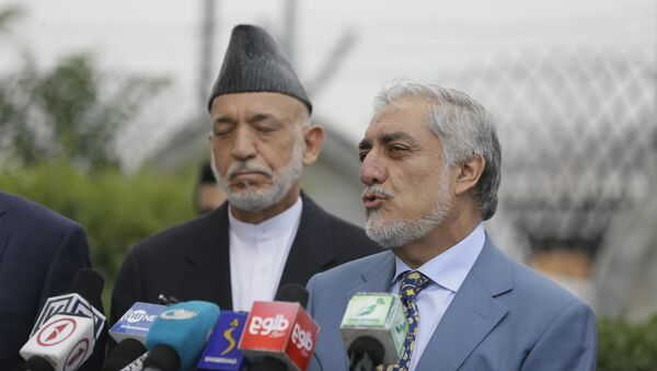 Abdullah Abdullah, head of Afghanistan's National Reconciliation Council talks about peace negotiation at the news conference at Hamid Karzai International Airport, in Kabul, Afghanistan, Friday, July. 16, 2021. - Sputnik International