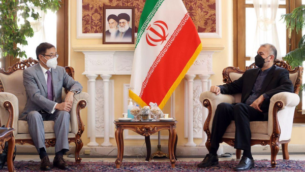 Hossein Amirabdollahian, the senior foreign policy advisor to the Iranian parliament speaker and foreign minister designate, and Yue Xiaoyong, China's special envoy for Afghanistan, in a meeting on August 18, 2021, stressed continuation of cooperation between Tehran and Beijing on regional issues, including Afghanistan. - Sputnik International