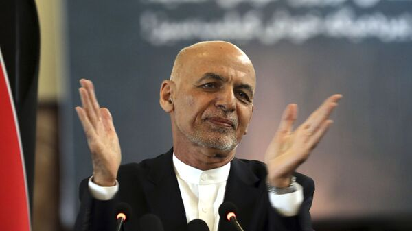 FILE - In this March 21, 2021 file photo, Afghan President Ashraf Ghani speaks during a ceremony celebrating the Persian New Year, Nowruz at the presidential palace in Kabul, Afghanistan. Afghanistan's embattled president left the country Sunday, Aug. 15, 2021, joining his fellow citizens and foreigners in a stampede fleeing the advancing Taliban and signaling the end of a 20-year Western experiment aimed at remaking Afghanistan.  - Sputnik International