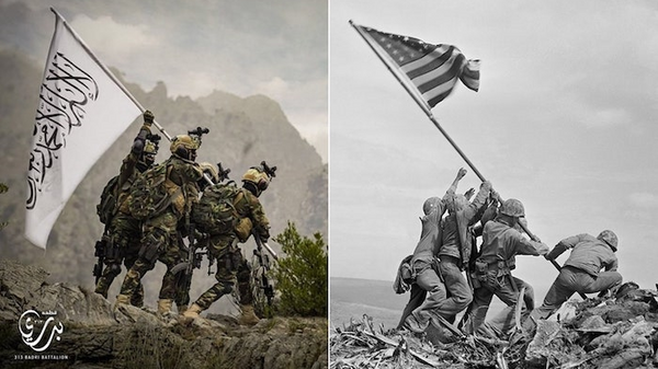 Taliban fighters stage photo to look like iconic WWII photo of US troops raising flag over Iwo Jima. - Sputnik International
